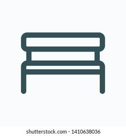Garden bench isolated icon, wooden garden bench linear vector icon