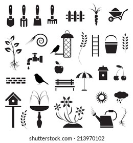Garden and birds, icons set, black isolated on white background, vector illustration.