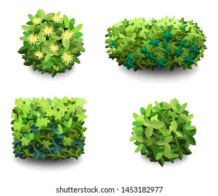 Garden bush. Green garden vegetation bushes icon. Ornamental plant shrub for decorate landscape park, a garden or a green fence. Thick thickets of shrubs. Foliage for spring and summer card design.