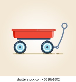 Garden cart, wheelbarrow, wagon, hand trolley on a light  background.  Vector, illustration, flat