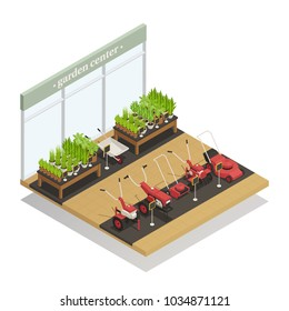 Garden center young plants and agricultural equipment sale isometric composition with lawn mowers and wheelbarrow vector illustration