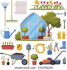 Garden Collection, Agriculture Work Equipment, Greenhouse, Farming Tools, Seedlings and Plants Flat Style Vector Illustration