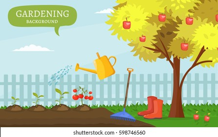 Garden colorful designs elements and vector farm illustration set of different gardening equipment, tools, vegetables and plants.