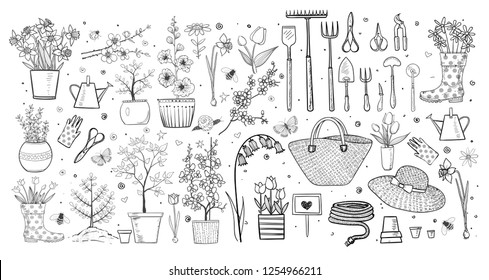 Garden doodles on white background.