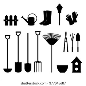 Garden equipment. Set of silhouettes of objects garden tools.