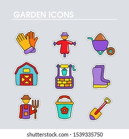 Garden Farm flat vector icon outline isolated. Graph symbol for your web site design, logo, app, UI. Vector illustration, EPS10.