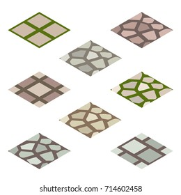 Garden or farm isometric tile set. Isolated tiles with walk paving. Vector illustration, can be used as a game or app asset to create landscape or garden scene.