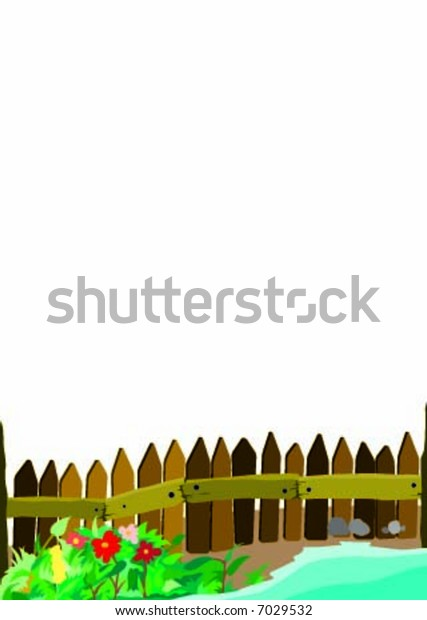 Garden fence background with white sky