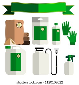 Garden fertilizers, insecticides. Gardening vector icons set, flat style.