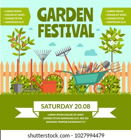 Garden festival colorful poster with rural landscape and advertising of tools inventory seedlings fertilizer flat vector illustration