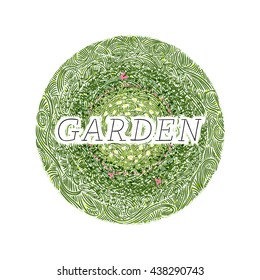 Garden with flowers and butterflies, wavy grass decorated badge, hand-drawn vector illustration.