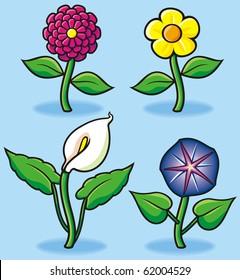 Garden flowers in cartoon style
