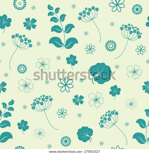 Garden flowers and herbs seamless background. Vector illustration.