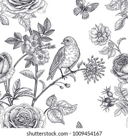 Garden flowers roses, peonies and dog rose, bird and butterflies. Floral vintage seamless pattern. Black and white. Victorian style. Vector illustration. Template for luxury textiles, paper, wallpaper