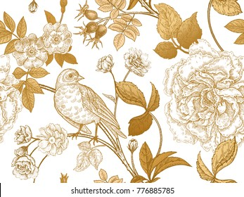 Garden flowers roses, peonies and dog rose, bird on branches . Floral vintage seamless pattern. Gold and white. Victorian style. Vector illustration. Template for luxury textiles, paper, wallpaper.