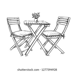 garden furniture, table and two chairs vector illustration