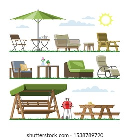 Garden furniture vector table chair seat on terrace design outdoor in summer backyard outside illustration gardening relaxation set of furnished armchair isolated on white background.