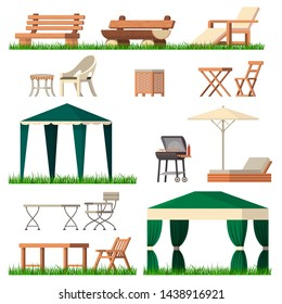 Garden furniture vector tent table chair seat on terrace design outdoor in summer backyard outside illustration gardening relaxation set of furnished chaise lounge isolated on white background