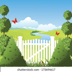 Garden gate with topiary. EPS 10 vector, grouped for easy editing. No open shapes or paths.