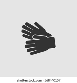 Garden Gloves icon flat. Black pictogram on grey background. Vector illustration symbol