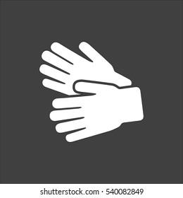Garden Gloves icon flat. Vector white illustration isolated on black background. Flat symbol