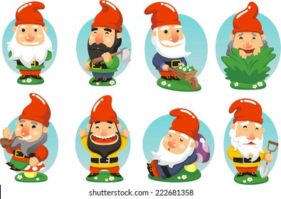 Garden Gnome cartoon Set of fun illustrations