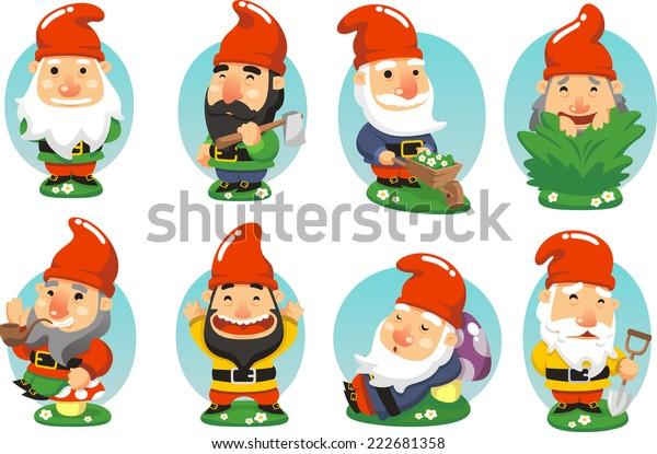 Tuinkabouter cartoon Set van leuke illustraties