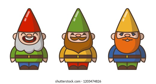 Garden gnomes (dwarfs) in cone caps isolated on white.