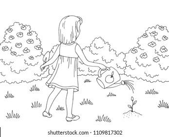 Garden graphic black white landscape sketch girl watering sprout illustration vector