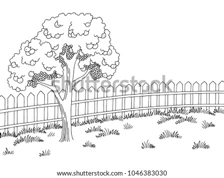 Garden graphic black white landscape apple tree sketch illustration vector