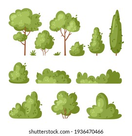 Garden green bush. Vector set of vegetation bushes, grass and trees. Cartoon icon for decorate landscape park, backyard, forest. Spring or summer plant, trees, hedges, shrub with branches and leaves