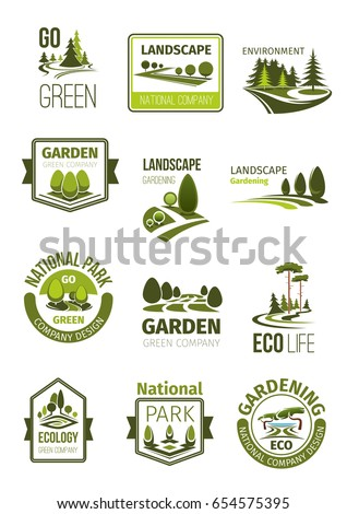 Garden And Green Landscape Design Company Icons Set. Vector Symbols Of  Parks And Squares,