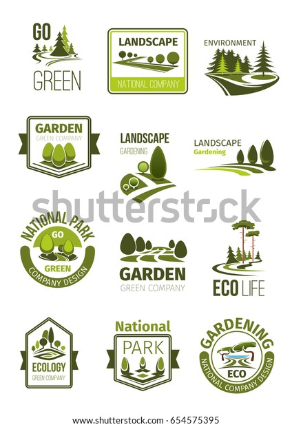 Garden Green Landscape Design Company Icons Stock Vector Royalty