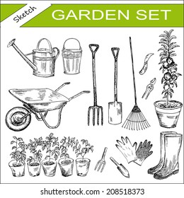 garden. hand drawing set of vector sketches