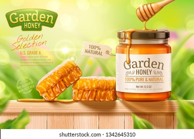 Garden honey ads with dipper and hives on bokeh grass background in 3d illustration