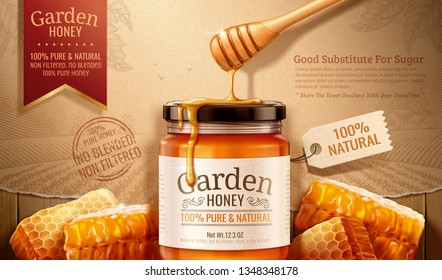 Garden honey ads with dipper and hives on engraved retro background in 3d illustration