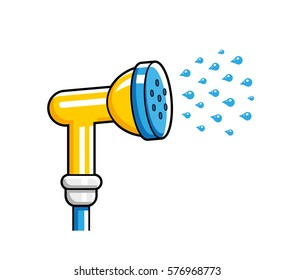 Garden hose nozzle spraying water. Vector icon isolated.