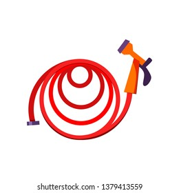 Garden hose. Red hose with sprinkler. Agriculture attributes concept. Vector illustration can be used for topics like garden tools, cultivation, horticulture