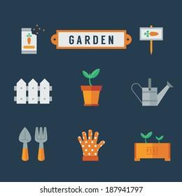 Garden icon set Flat