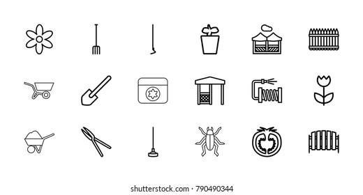 Garden icons. set of 18 editable outline garden icons: flower, shovel, pitchfork, hoe, garden tools, water hose, plant in pot, fence, gazebo, tomato, pergola, wheel barrow