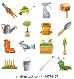 Garden icons set in cartoon style isolated on white background