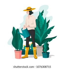 Garden illustration with girl. Perfect for greeting card, poster, invitation and so on. Vector illustration.