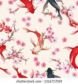 Garden koi pattern. Oriental china garden with spring sakura, asian koi fishes vector nature art background, japanese seamless texture