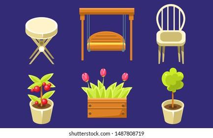 Garden Landscape Design Elements Set, Tulips in Wooden Box, Plants in Flower Pots, Chair, Swing Vector Illustration
