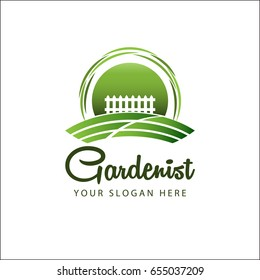 Garden landscape logo with green land and white fence - vector illustrator