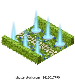 Garden landscape scene with topiary bushes, flowers and garden fountain. Isometric view, vector illustration. Can be used for creating garden scenes in game asset, cartoons, app etc.