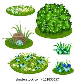 Garden landscape set. Tile set for summer forest or garden design. Bush, flowers in grass, cornflowers and chamomiles, stub. Use for cartoon or video game asset. Vector illustration