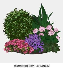 Garden landscapes, summer and spring flower bed. Vector flat illustrations