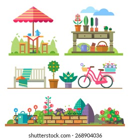 Garden landscapes, summer and spring: picnic, bike, watering can, flower bed. Vector flat  illustrations