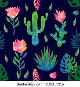 Garden with lotuses and cacti. Seamless vector pattern with flowers and palm leaves. Trendy design with gradient colors. Tropical textile collection. On dark blue background.
